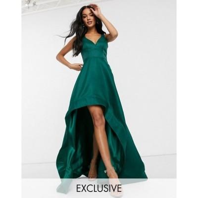 バリアーノ レディース ワンピース トップス Bariano high low prom dress with full organza detail in emerald green