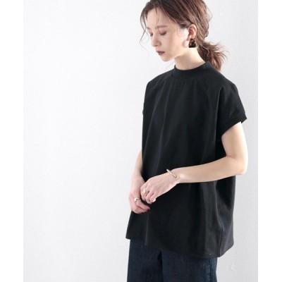 (Classical Elf/クラシカルエルフ)綿100%、大人のフレンチラグランモックネックTシャツ。/レディース ブラック