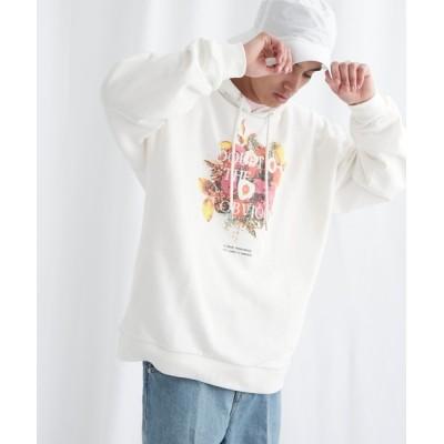 EMMA CLOTHES / 8bit Flower Print 裏毛 オーバーサイズプルオーバーパーカー EMMA CLOTHES 2021 A/W MEN トップス > パーカー