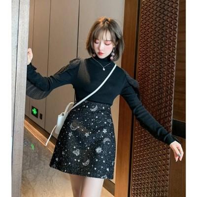 レディース ファッション秋 冬 スカート ツイード ミニ丈 ブラック ベージュ バックファスナー  かわいい 通学 お出かけ 女子会 デート