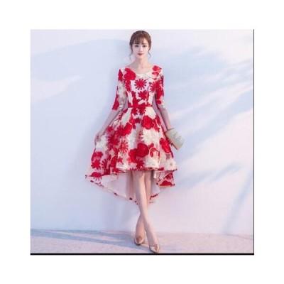 ワンピース 前短後長ドレス Aライン お呼ばれドレス 花嫁 レディース パーティードレス ウェディングドレス 結婚式 二次会 韓国風 きれいめ お洒落 刺繍