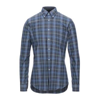DEL SIENA チェック柄シャツ  メンズファッション  トップス  シャツ、カジュアルシャツ  長袖 ブルーグレー
