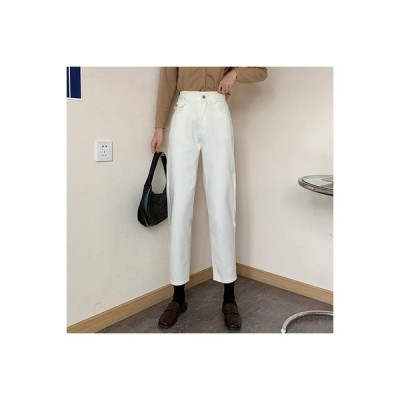 【送料無料】秋 韓国風 ハイウエスト 着やせ 何でも似合う ベージュ 女性のジーンズ   346770_A63913-2702450