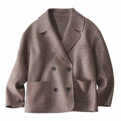 ファッション ジャケット ショートジャケット ピンチェック ダブルフェイス オーバーサイズジャケット 211402