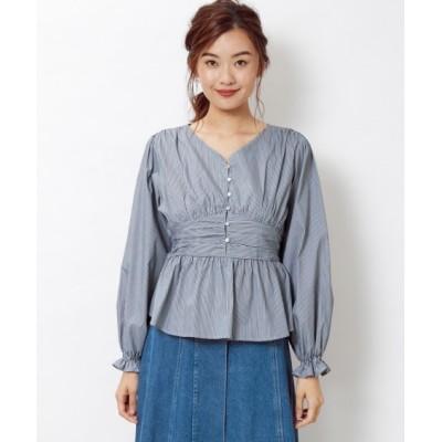 【大きいサイズ】 綿100%ウエスト切替ストライプ柄ブラウス(FIFTH)  plus size shirts, テレワーク, 在宅, リモート