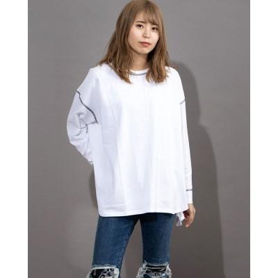 ジーラ GeeRA 【WEB限定】ビッグシルエットステッチTシャツ (ホワイト)【Mサイズ】