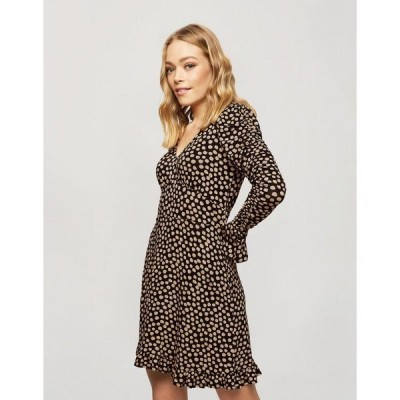 ミスセルフフリッジ レディース ワンピース トップス Miss Selfridge fit and flare mini dress in beige polka dot Black