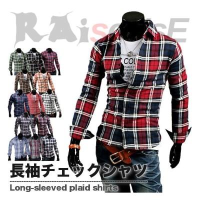全品送料無料 tsb 長袖 チェックシャツ メンズ 在庫限り 数量限定 チェック柄 トップス 12色 #TS69 M便