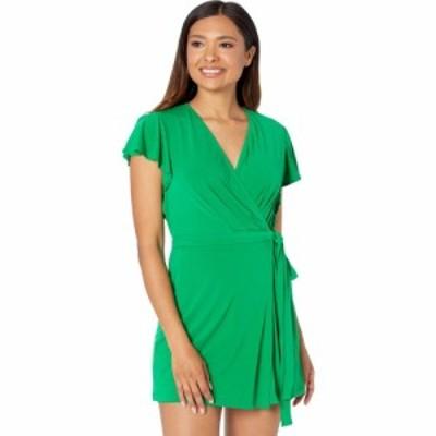 ロンドンタイムス London Times レディース オールインワン ワンピース・ドレス Solid Jersey Flutter Sleeve Romper Green