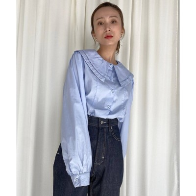 シャツ ブラウス 【SANSeLF】big collar blouse sanwz22