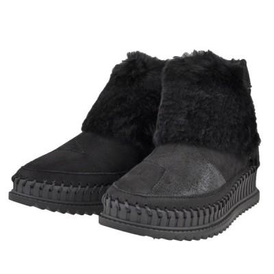 レディース 靴 ブーツ ヌーベルヴォーグリラックス 星型 ファー付き 両側ファスナー 厚底ファー付きブーツ 送料無料 ブラック ENA0381BL