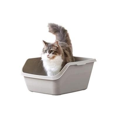 HY CAT ラージ グレー ハイキャット 本体 猫トイレ 大きい 飛散防止 一体成形 入口は低め 幅39奥45.5高21.5cm 【内寸