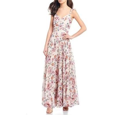 ミッドナイト ドール レディース ワンピース トップス Spaghetti Strap Floral Print Pleated Chiffon Long Dress