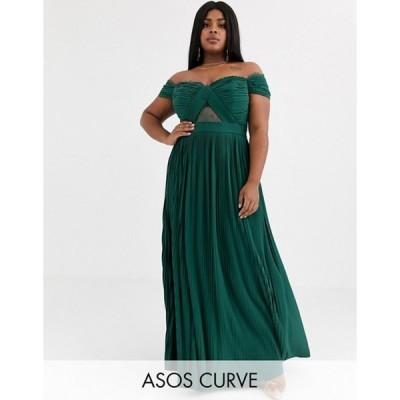エイソス レディース ワンピース トップス ASOS DESIGN Curve lace and pleat bardot maxi dress