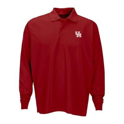 """メンズ ポロシャツ """"Houston Cougars"""" Vansport Omega Long Sleeve Solid Mesh Tech Polo - Red"""