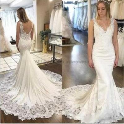 ウェディングドレス/ステージ衣装 ホワイト/アイボリーレースサテンマーメイドのウェディングドレスブライダルドレスカスタムメイド2 4 6