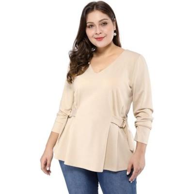 レディース 衣類 トップス Unique Bargains Women's Plus Size Pleated Peplum Top ブラウス&シャツ