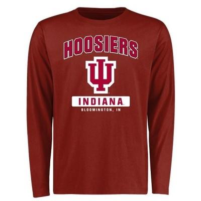 ユニセックス スポーツリーグ アメリカ大学スポーツ Indiana Hoosiers Big & Tall Campus Icon Long Sleeve T-Shirt - Crimson