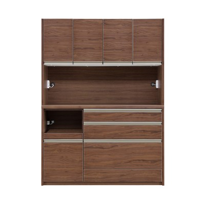 [幅140.5/奥行45.5/高さ195.5] 食器棚 キッチンボード スライドカウンター付き ウォールナット 天然木 LEG 140 KB