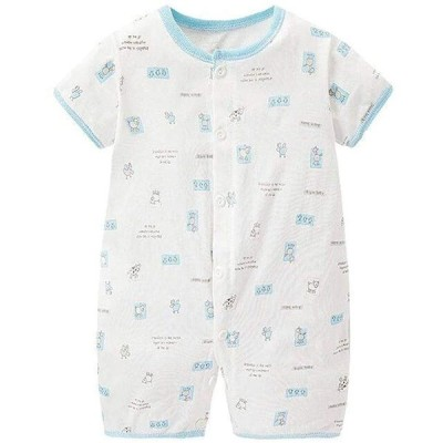 Rima ベビー服 夏 半袖 ロンパース 赤ちゃん服 カバーオール 肌着 パジャマ ルームウェア 女の子 男の子 綿 かわいい 通気 柔らかい ブルー