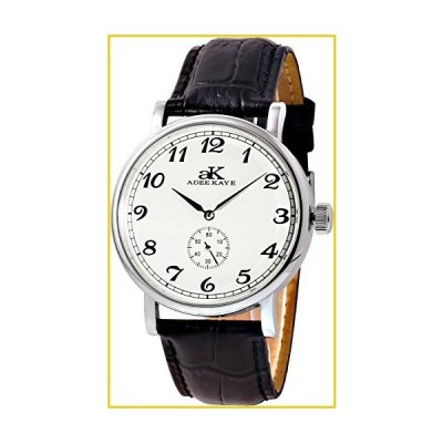 AdeeKaye AK9061 Men's 20 Jewel Mechanical Stainless Steel & Leather Watch-Silver Tone/White Dial並行輸入品