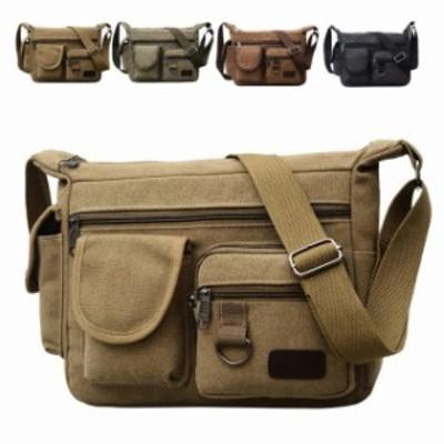 ショルダー ミリタリー メンズ ビジネス 大容量 旅行 出張 メンズバック バッグ ショルダーバッグ 斜めがけバッグ キャンバス