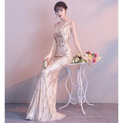 ロングドレス ウェディングドレス パーティードレス カラードレス イブニングドレス 演奏会ドレス プリンセスライン 結婚式 花嫁 ワンピース [ゴールド]