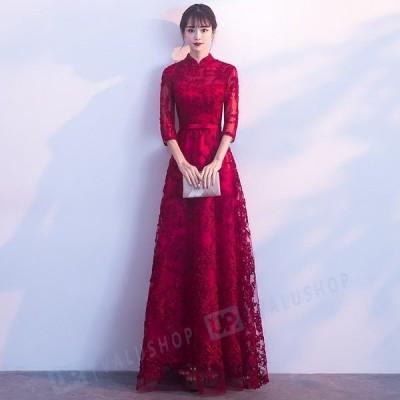 パーティー 結婚式 ワンピース 結婚式ドレス  ノースリーブ お呼ばれ 服 服装 大人 上品 女性 刺繍 新作 着痩せ
