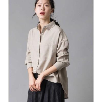 シャツ ブラウス 製品洗い 綿麻レーヨンビッグシャツ