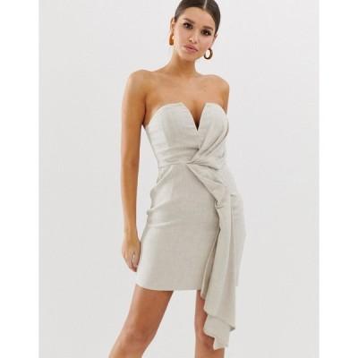 エイソス ミニドレス レディース ASOS DESIGN bandeau mini dress with drape detail in textured linen エイソス ASOS
