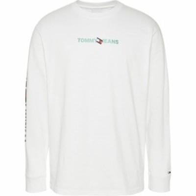 トミー ジーンズ Tommy Jeans メンズ 長袖Tシャツ ロゴTシャツ トップス Long Sleeve Logo T Shirt White YBR