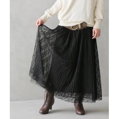【オシャレウォーカー】 『繊細レースプリーツスカート』 レディース ブラック フリーサイズ osharewalker