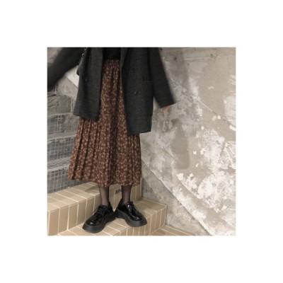 【送料無料】プリントスカート 女 秋と冬 年 韓国風 厚いビロード 表面 ハイウエス | 364331_A64367-7195563