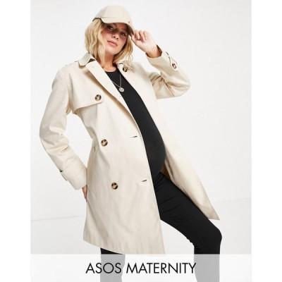 エイソス ASOS Maternity レディース トレンチコート マタニティウェア アウター ASOS DESIGN Maternity trench coat in stone ベージュ