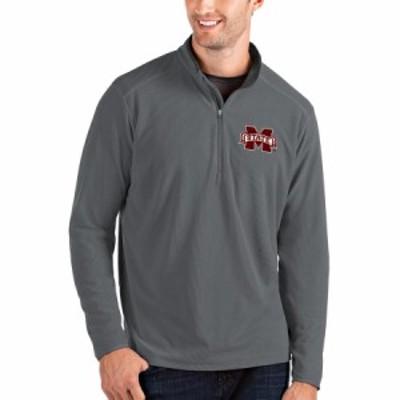 """メンズ ジャケット """"Mississippi State Bulldogs"""" Antigua Glacier Quarter-Zip Pullover Jacket - Gray/Charcoal"""