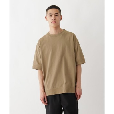 BASE CONTROL(ベースコントロール)抗菌防臭 ビッグシルエット リブ仕様 ロゴワンポイント刺繍Tシャツ