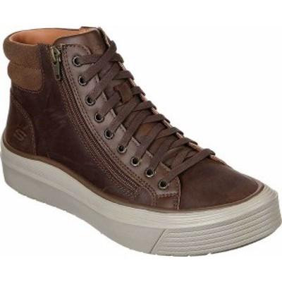 スケッチャーズ メンズ スニーカー シューズ Men's Skechers Viewport Moreago High Top Sneaker Chocolate Dark Brown