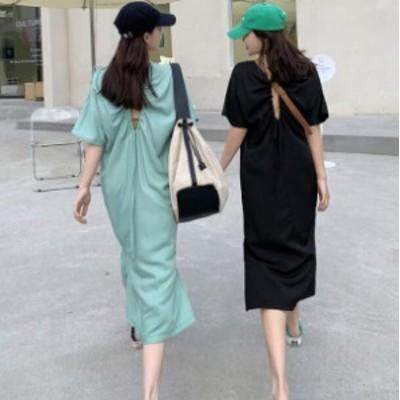 韓国ファッション レトロ ワンピース ロングTシャツ シンプル カジュアル ワンピース 半袖 無地 夏物 かわいい トレンド