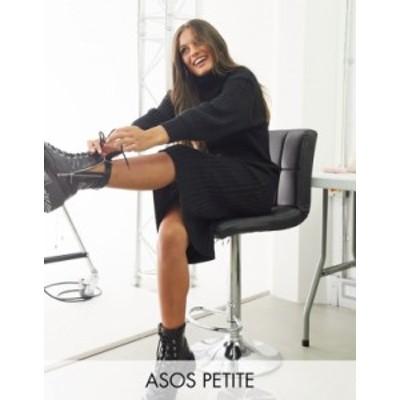 エイソス レディース ワンピース トップス ASOS DESIGN Petite midi rib dress with roll neck Black