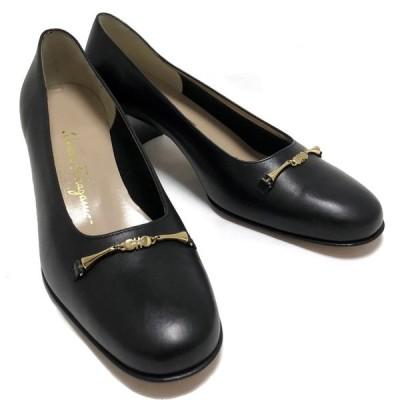 未使用 訳あり フェラガモ パンプス 9 約26.5cm ガンチーニ ブラック 黒 レザー レディースシューズ 靴 Salvatore Ferragamo FERRAGAMO