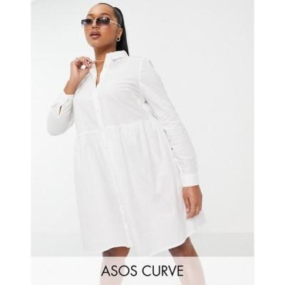 エイソス レディース ワンピース トップス ASOS DESIGN Curve organic cotton mini smock shirt dress in white