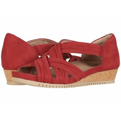 アース ヒール シューズ レディース Gemini Bright Red Scrunch Soft Buck/Soft Buck