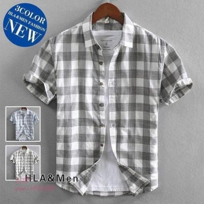 カジュアルシャツ メンズ 30代 40代 50代 シャツ トップス夏服 送料無料 お兄系 チェックシャツ 半袖シャツ