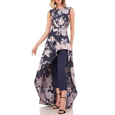 ケイ アンジャー レディース ワンピース トップス Roxane Textured Floral Jacquard Jewel Neck Sleeveless Asymmetric Overlay Walk-Thru Jumpsuit