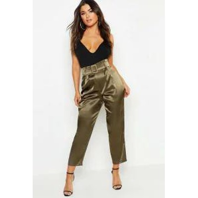 Boohoo レディースパンツ Boohoo Heavy Satin Belted Paperbag Trousers?