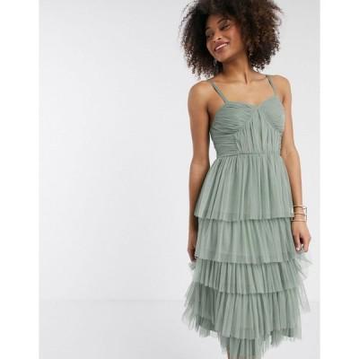アナヤ ミディドレス レディース Anaya With Love tulle frilly tiered midi dress in green エイソス ASOS グリーン 緑