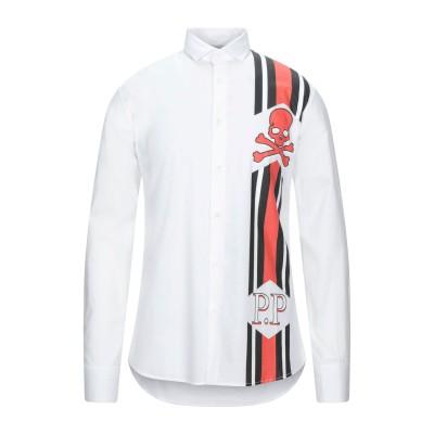 PHILIPP PLEIN シャツ ホワイト L コットン 97% / ポリウレタン 3% シャツ