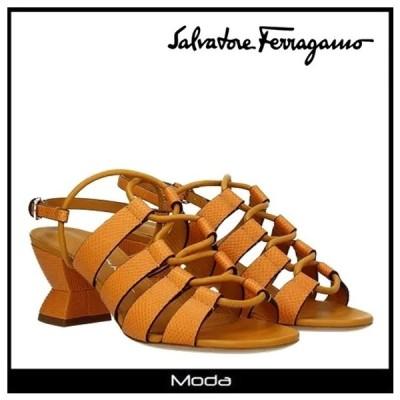 フェラガモ サンダル レディース Ferragamo 靴 オレンジ SIRMIO ヒール