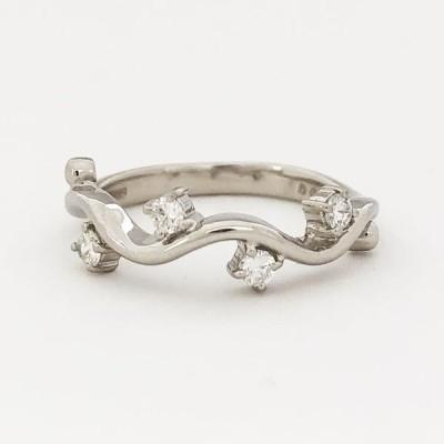 【中古】Pt900 ダイヤ ファッションリング D 0.20ct 14号 4.3g 指輪