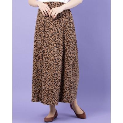 イーハイフンワールドギャラリーアウトレット E hyphen world gallery outlet Pスウェード釦ロングスカート (Leopard)